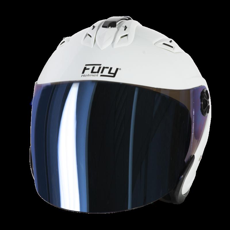 Fury Casque Jet Spike Blanc Ecran Miroir Bleu