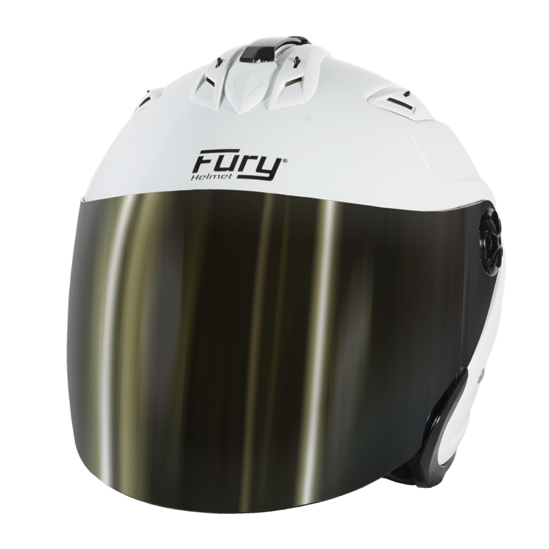 Fury Casque Jet Spike Blanc Ecran Miroir Or