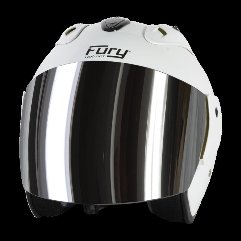 Fury Casque Jet Nero Blanc Ecran Miroir Iridium