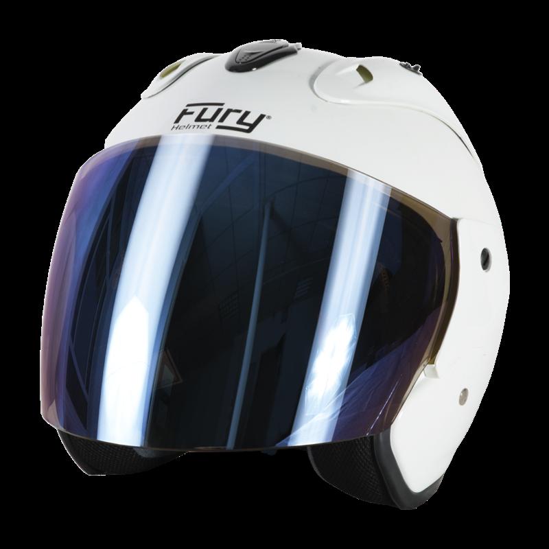 Fury Casque Jet Nero Blanc Ecran Miroir Bleu
