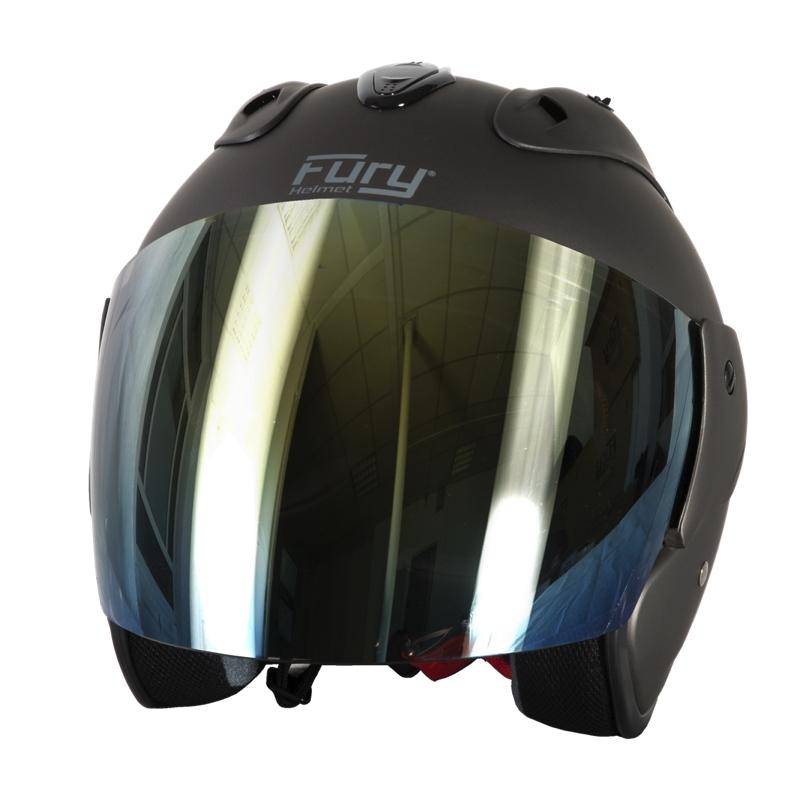 Fury Casque Jet Nero Titanium Mat Ecran Miroir Or