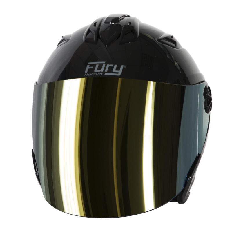 Fury Casque Jet Spike Noir Brillant Ecran Miroir Or