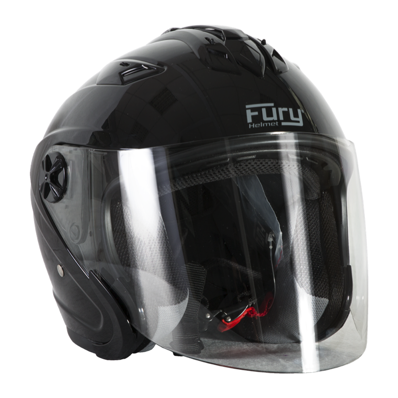 Fury Casque Jet Spike Noir Brillant