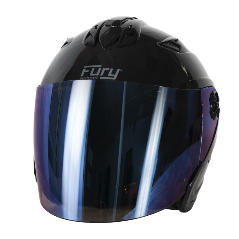 Fury Casque Jet Spike Noir Brillant Ecran Miroir Bleu