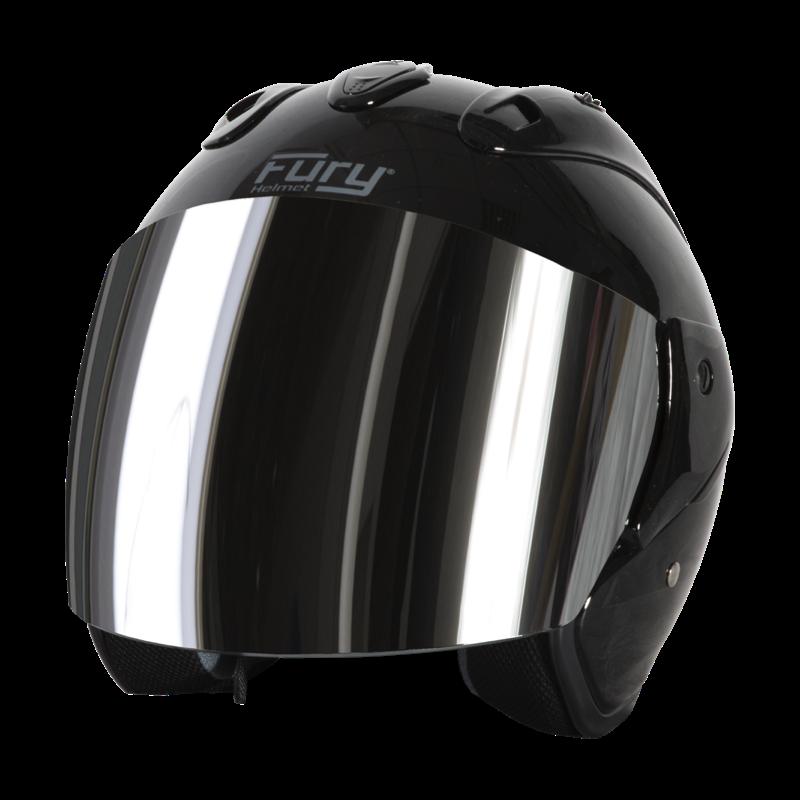 Fury Casque Jet Nero Noir Brillant Ecran Miroir Iridium