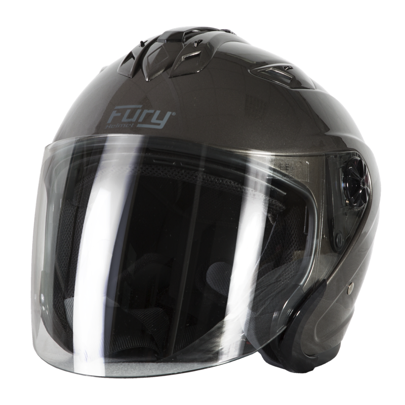 Fury Casque Jet Spike Titanium Brillant