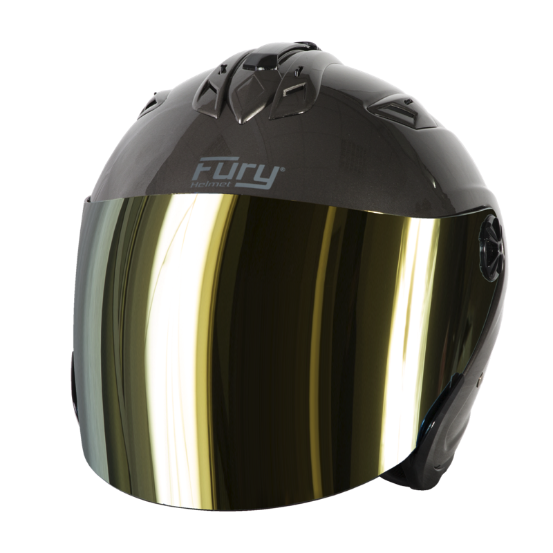 Fury Casque Jet Spike Titanium Brillant Ecran Miroir Or